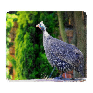 Blue Helmeted Guinea Fowl standing in the sun Cutting Board