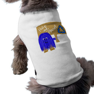 Blue help the planet recycle dog tee