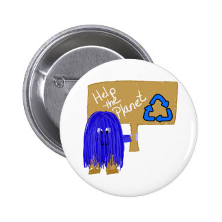 Blue help the planet recycle pinback buttons