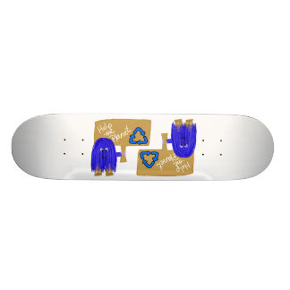 Blue help the planet recycle skate deck
