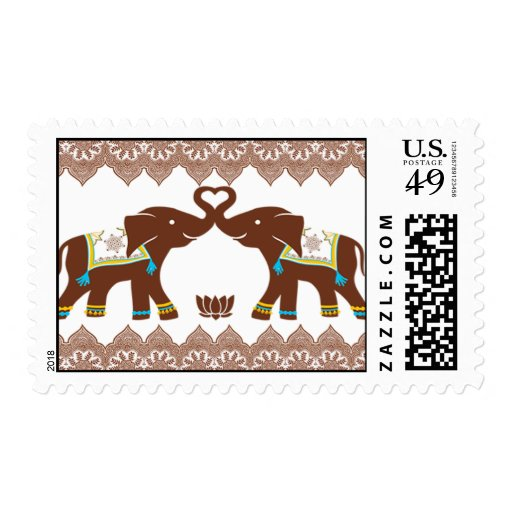 Blue Henna Elephants Love Postage