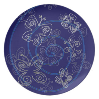 Blue Henna Flies Party Plates