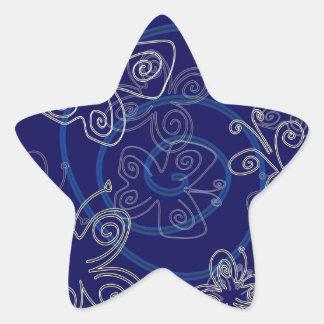 Blue Henna Flies Star Sticker