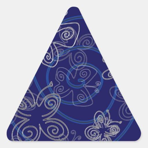Blue Henna Flies Triangle Stickers
