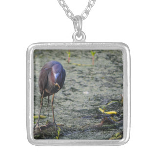 Blue Heron At Breakfast Silver Plated Necklace