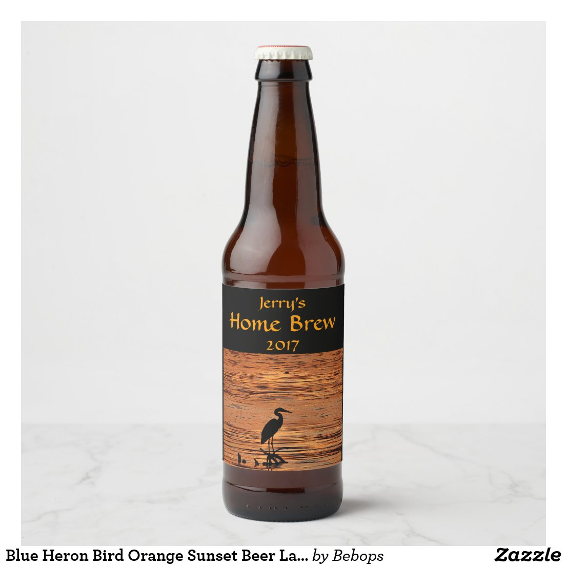 Blue Heron Bird Orange Sunset Beer Label