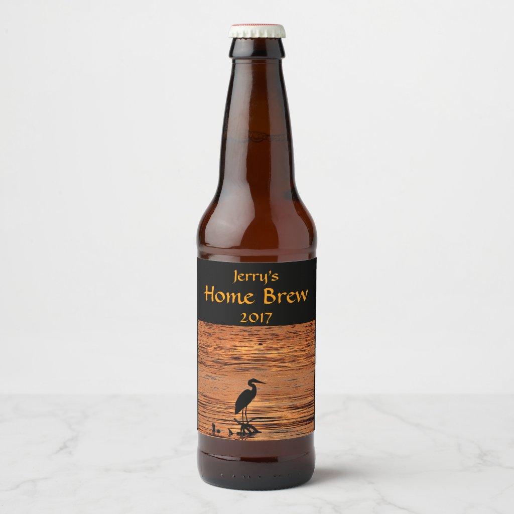 Blue Heron Bird Orange Sunset Beer Label