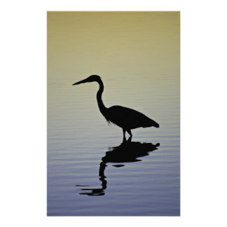 Blue Heron Bird Silhouette at Sunset Stationery