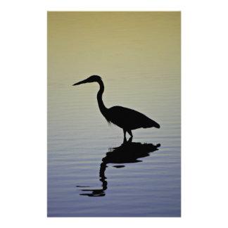 Blue Heron Bird Silhouette at Sunset Stationery
