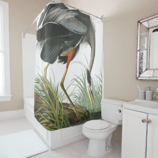 Blue Heron Birds Audubon Wildlife Shower Curtain