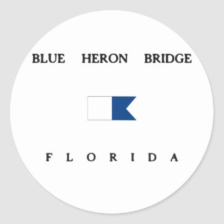 Blue Heron Bridge Florida Alpha Dive Flag Round Sticker