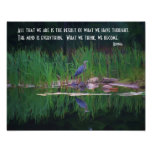 Blue Heron Buddha Mind Quote Inspirational Poster