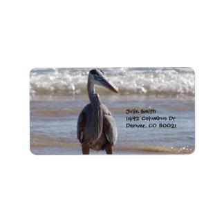 Blue Heron by the Ocean Label
