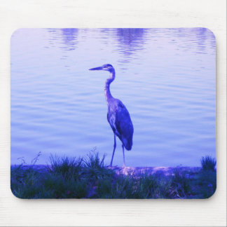 Blue Heron Egret Mouse Pad