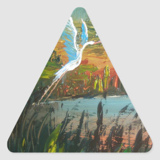 Blue Heron Flying Triangle Stickers