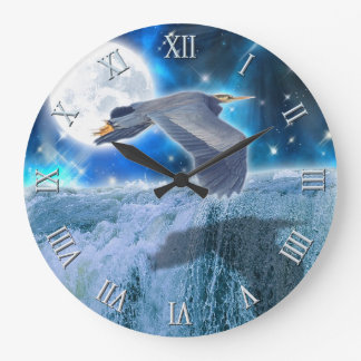 Blue Heron, Full Moon & Waterfall Fantasy Scene Large Clock