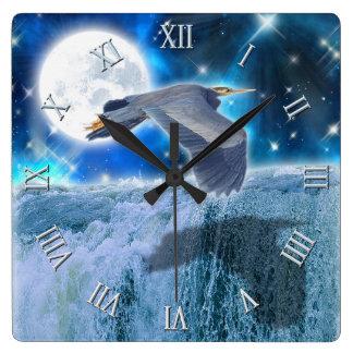 Blue Heron, Full Moon & Waterfall Fantasy Scene Square Wall Clock