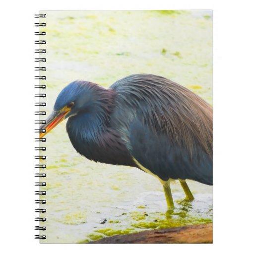 Blue Heron Having Lunch Spiral Notebook