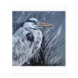 BLUE HERON IN BLACK AND WHITE POSTCARD