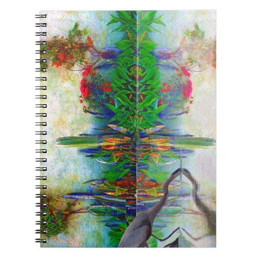 blue heron in my mexican garden spiral notebooks