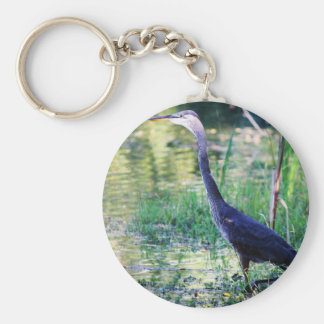 Blue Heron In Pond Keychain