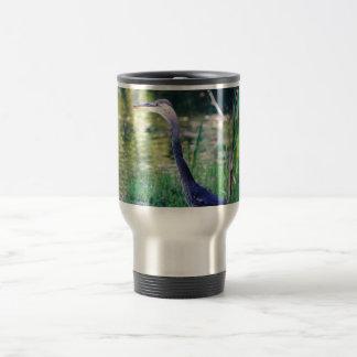 Blue Heron In Pond Travel Mug