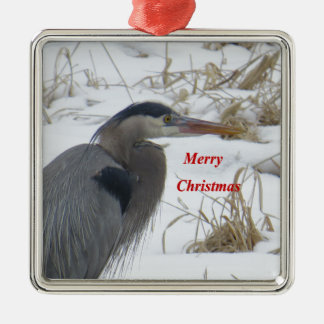 Blue Heron Metal Ornament