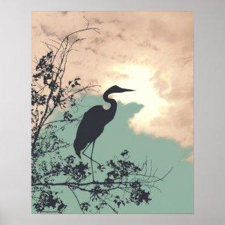 Blue Heron nursery sunset birds watching Poster