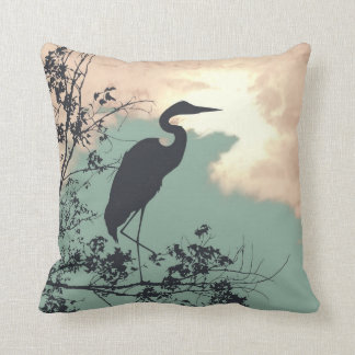 Blue Heron nursery sunset birds watching Throw Pillow