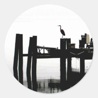 Blue Heron on a Gray Day Classic Round Sticker