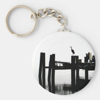 Blue Heron on a Gray Day Keychain