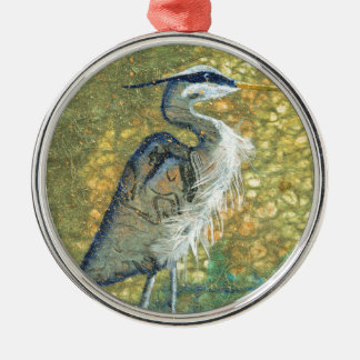 Blue Heron on Green Metal Ornament
