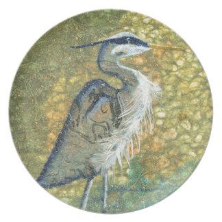 Blue Heron on Green Plate