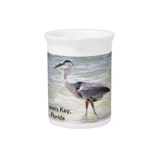 Blue Heron on Lovers Key Drink Pitcher