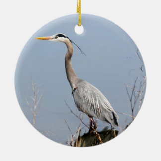 Blue Heron Double-Sided Ceramic Round Christmas Ornament