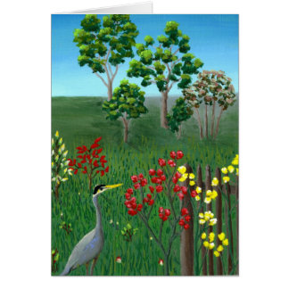 Blue Heron Painting Card