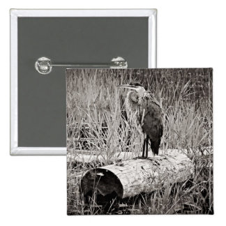Blue Heron Photograph - Black and White Pinback Buttons