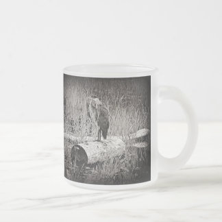Blue Heron Photograph - Black and White Frosted Glass Coffee Mug