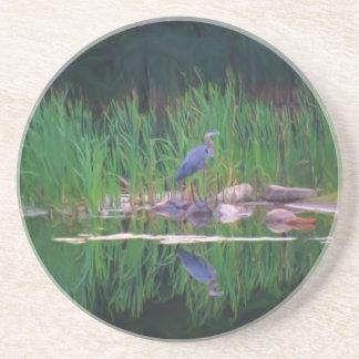 Blue Heron Pond Reflection Animal Coaster