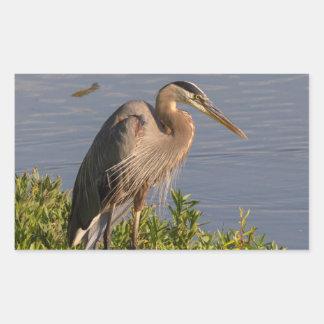 Blue Heron Rectangular Sticker