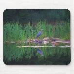 Blue Heron Reflections Animal Art Mousepad