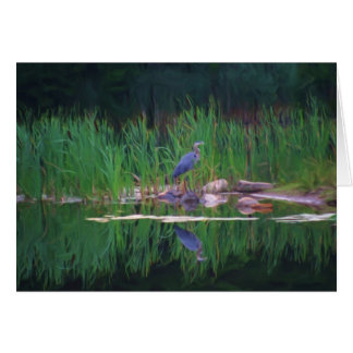 Blue Heron Reflections Animal Painting Card