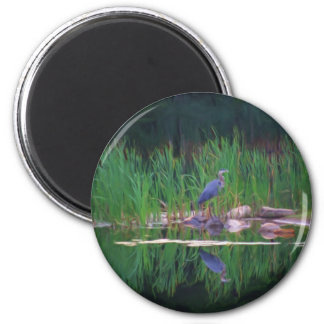 Blue Heron Reflections Animal Painting Magnet