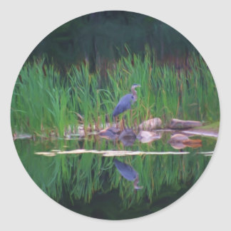 Blue Heron Reflections Animal Painting Sticker