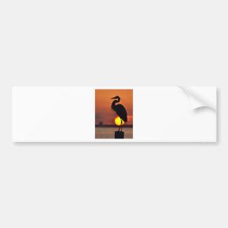 Blue Heron Silhouette Bumper Sticker
