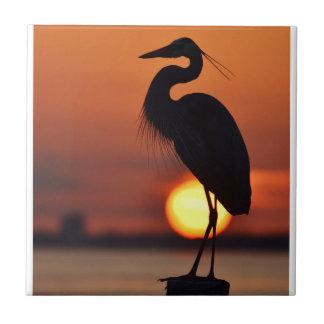 Blue Heron Silhouette Tile