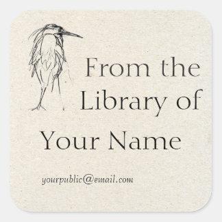 Blue Heron Sketch Bookplate