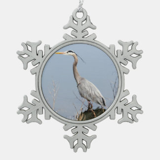 Blue Heron Snowflake Pewter Christmas Ornament