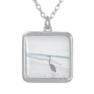 Blue Heron Square Pendant Necklace