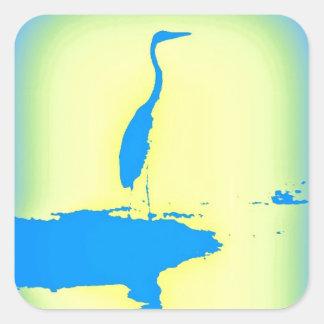 blue heron square sticker